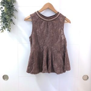 Free People   Taupe Lace Peplum Top